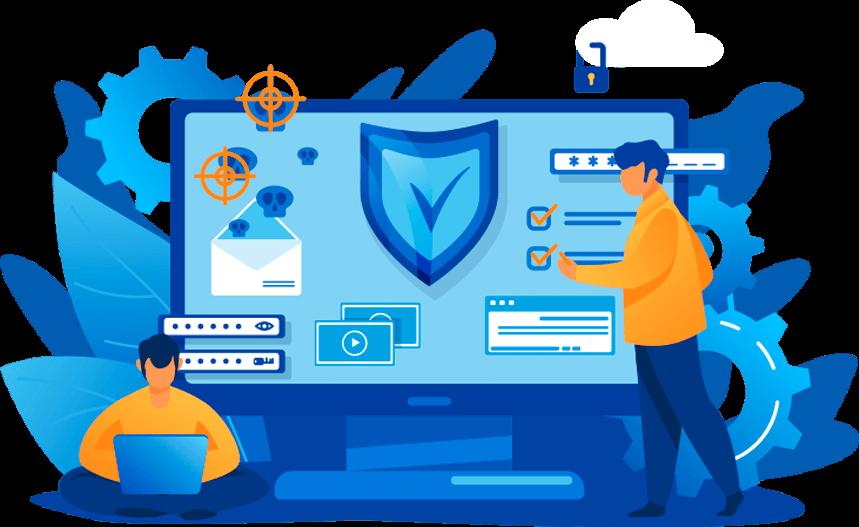 Figura de um desktop com imagens de segurança